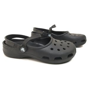 Black Slip On Closed Round Toe Ankle Strap Walking